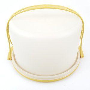 Vintage Tupperware Cake Carrier Taker Harvest Gold